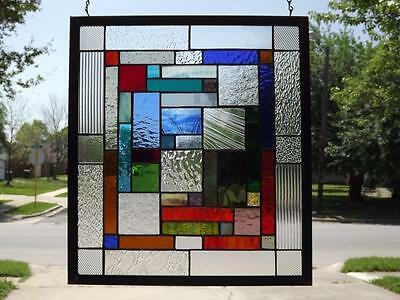 "COLLECTION OF COLORS*Stained Glass Window Panel -19 1/4""-17 1/4""( 49-44Cm)"