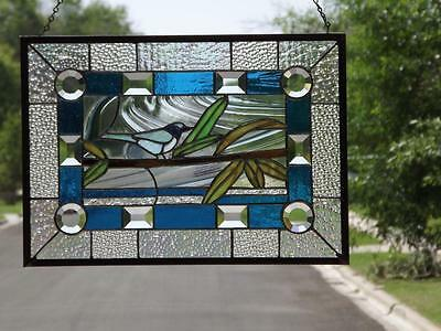 •THE WATCHER •Blue Jay Beveled Stained Glass Window Panel •