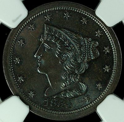 1854 Half Cent C-1, NGC MS65BN Iridescent Blue on Chocolate Brown