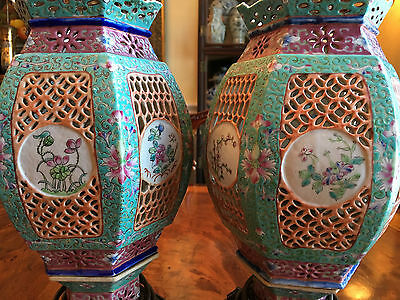 A Pair Chinese Qing Dynasty Famille Rose Porcelain Lanterns, Lamps.