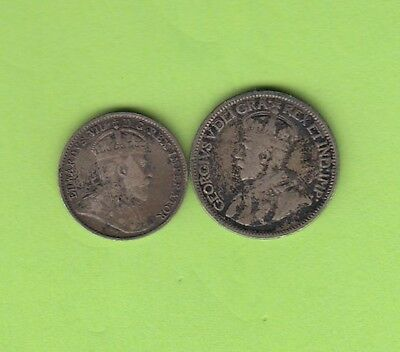 10 & 5 Cent Canada Canadian Small Silver Coins George V