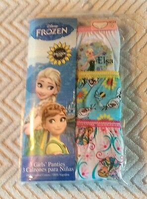 Disney FROZEN Girls' Elsa Anna Olaf Cotton Panties 3 Pair Pack Size 4 ~ NEW