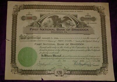 Antique stock certificate- First National Bank of Braddock, PA 1948 ( Pittsburgh