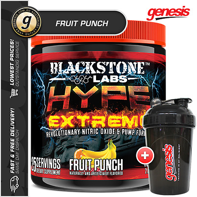 Blackstone Labs Hype Extreme *25 Serve FRUIT PUNCH* Pre Workout - Free Gift!