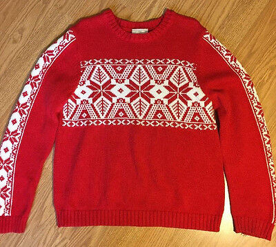 Hannah Andersson 130 Sweater US 8-10 Boys Girls Red Nordic Snowflakes Fun