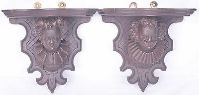 Pair of Antique Hand Carved Black Forest Corner Shelf