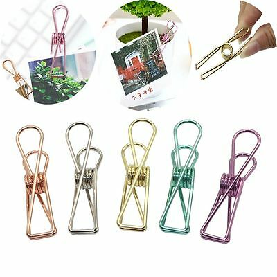 5PCS Office Supplies Solid Color Metal Hollow Album Binder Paper Clips
