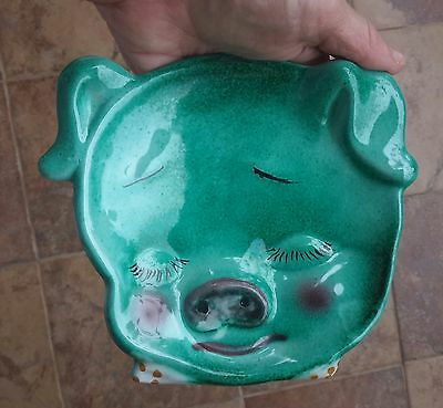 Cute PIG Dish, Spoon Rest, Green Ceramic, Art, Wall Decor, Italy
