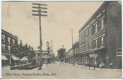 PZes BERLIN MD Main St Business Section Furbush & Co. 1913 Maryland Postcard