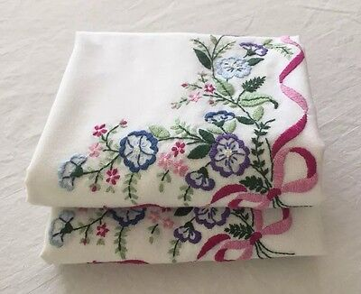 Pair Of Vintage Embroidered White Pillowcases w/ Colorful Flowers ~ Nice!