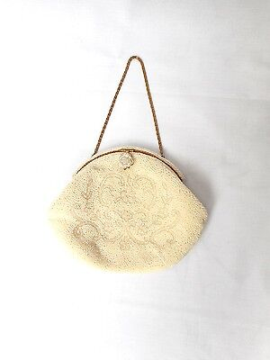 Vintage Handmade  Made in France White Floral Beaded Bridal Purse Bag