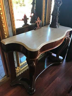 19Th Century Marble Top Serpentine Shaped Console / Hall Table On Scrolled Legs