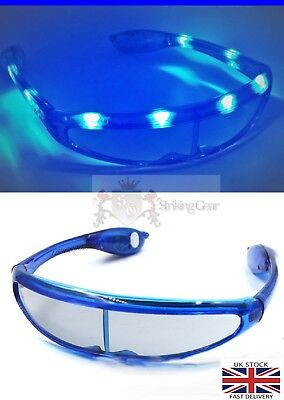 LED Light-Up Flashing Space Wrap Around Party Club Fun Glasses Blue Colour UK
