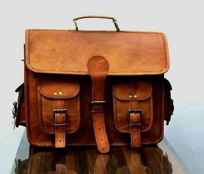 1Side  Brown Leather Motorcycle Side Pouch Saddlebags Saddle Panniers 1Bag