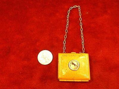 Very Rare Vtg Antique Victorian Era? Small Coin? Purse, Reverse? Painted Golfer!