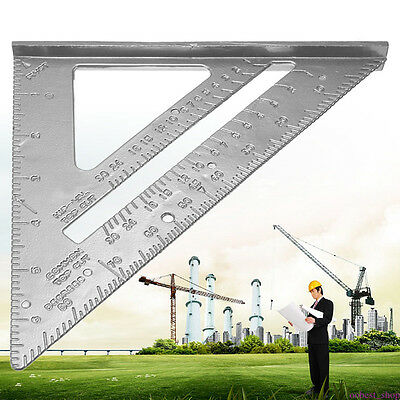 "Aluminum Alloy Tri Square Speed 7"" Triangle Ruler Protractor Miter Framing HOT B"