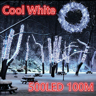100m 500 LED Flashing WHITE Christmas Fairy String Outdoor Christmas Lights