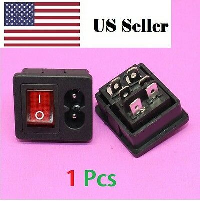 IEC320 C8 Power Cord Inlet Socket receptacle With ON-OFF Red Light Rocker Switch