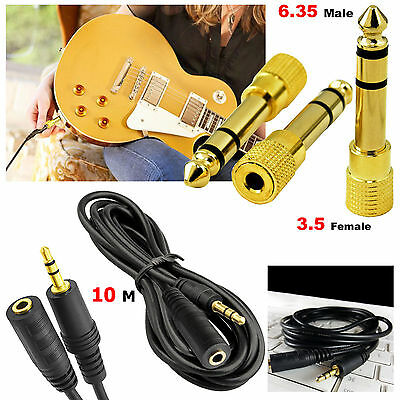 3.5mm Aux Jack Male/Famale Audio Extension Cable +3.5mm Female to 6.35 Male Jack
