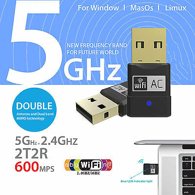 600Mbps 802.11ac Dual Band 2.4Ghz 5Ghz USB WiFi Dongle Wireless Network Adapter