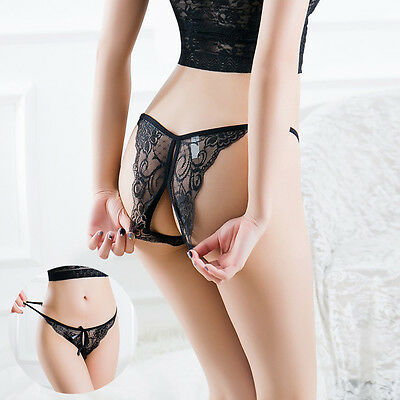 Sexy Lace Bow Underwear Women's Panties G-string Thong Briefs Open Intimates