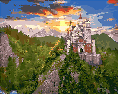 Framed Painting by Number kit Germany Neuschwanstein Castle House DIY MB7051