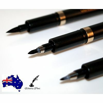 3 Calligraphy Brush Pens Small Medium and Large Genvana Black Ink Quality NEW