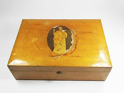 Vintage wooden wood lacquered cigarette box trinket paint pencil greek muse