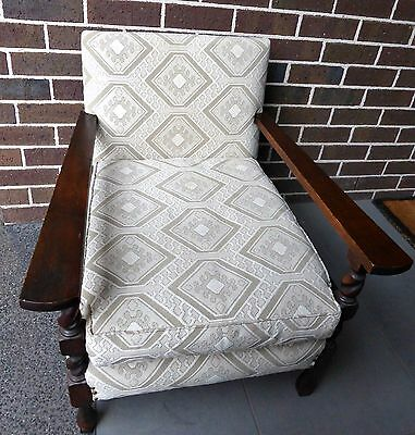 Vintage Jacobean style twist carved upholstered armchair