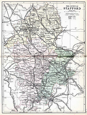 Map of the County of Stafford, England.