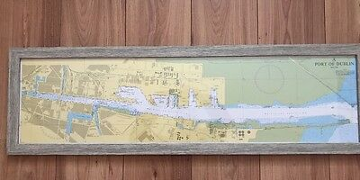 Framed Dublin Ireland Port Of Dublin Chart Framed In Driftwood Look Frame