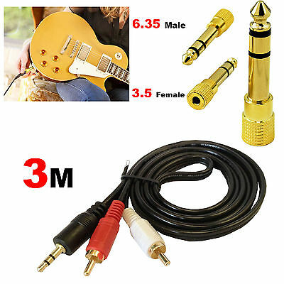3.5mm Male to 2 RCA Male Cable Plug + 3.5mm to 6.35mm Jack Headset Adapter Amp