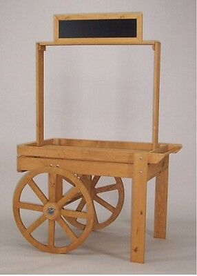 Wood Display Cart in Oak Color