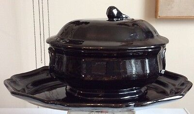 Black Ceramic Casserole Dish Vintage Large Covered Tureen Bowl With Platter