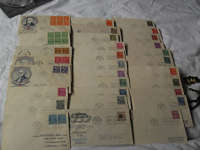 1938 PRESIDENTS SERIES, 29 FDC's FROM 1/2 CENT TO $1  , SOME CACHET COVERS.