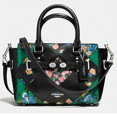 05415e6f COACH MINI BLACK Blake Floral Patchwork Leather Messenger Bag Crossbody  F57610