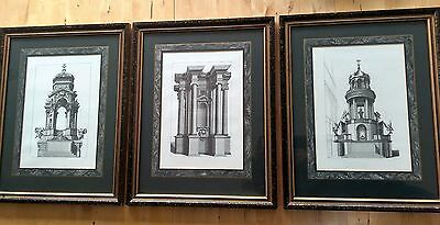 Set of 3 framed Andrea Prozzo architectural prints