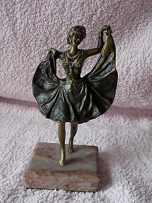 Bergman Cold Painted Bronze -  Dancing Lady with Rise - up Skirt      Erotic