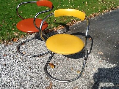 2 Vintage Mid Century Vinyl / Chrome Chairs - Heavy Well Made - Nice