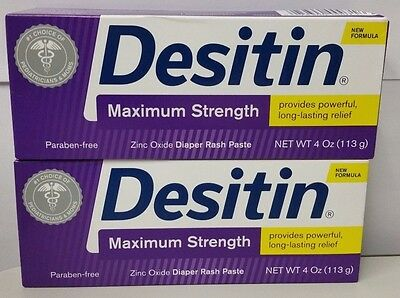 DESITIN Maximum Strength Original Paste 4 oz (Pack of 2) New sealed 10/2018