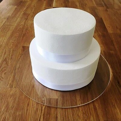 "Round Cake Board, Clear Gloss Finish 3mm Acrylic, Sizes 7"" 9"" 11"" 13"" 15"" 17"""