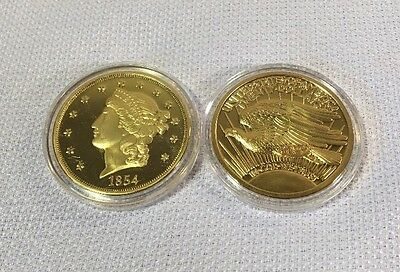 (2) 1849 Liberty Gold Eagle Liberty Twenty Dollar Tribute 24K Gold Plated Coins