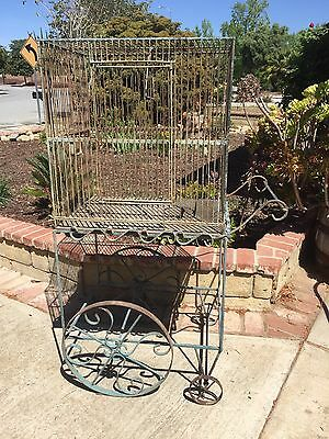 Bird Cage w/ Rolling Garden Cart Vintage Wrought Iron Chippy Paint