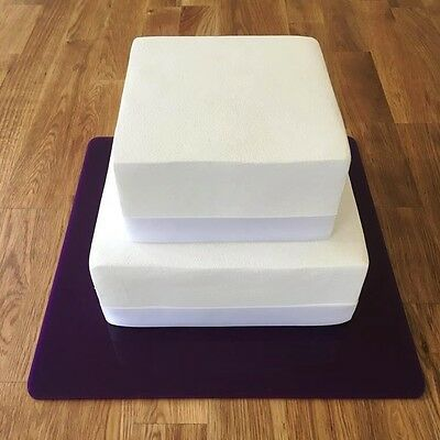"Square Cake Board, Purple Gloss Finish 3mm Acrylic, Sizes 7"" 9"" 11"" 13"" 15"" 17"""