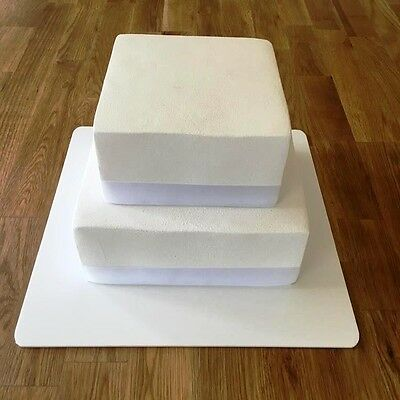 "Square Cake Board, White Gloss Finish 3mm Acrylic, Sizes 7"" 9"" 11"" 13"" 15"" 17"""