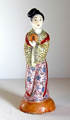 """Fine Antique Chinese Famille Rose Immortal Statue with Rosewood Stand c1900 6"""""""