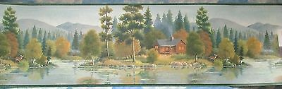 Cabin In The Mountains By The River Vinyl Wallpaper Border