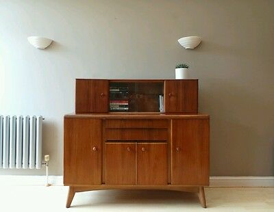 Vintage 1950s 1960s mid century NATHAN teak sideboard bookcase drawers cupboards