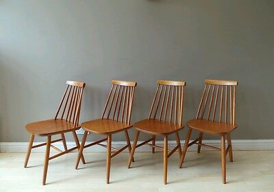 4 Vintage mid century 1960s windsor stick back blonde dining chairs Ercol style