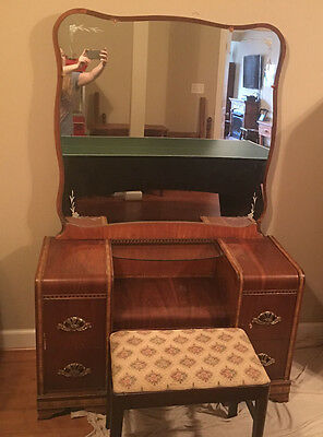 Art Deco Bedroom Vanity Ca 1930's Dresser Waterfall With Seat-Reduced!!